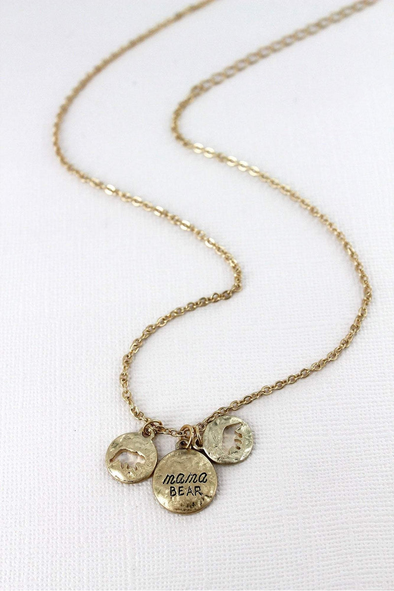 Crave Worn Goldtone 'Mama Bear' and Cut-Out Cub Disk Charm Necklace