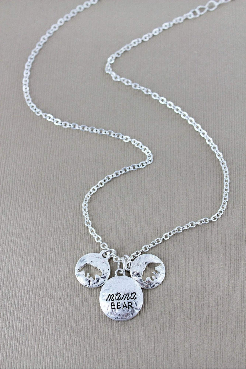Crave Worn Silvertone 'Mama Bear' and Cut-Out Cub Disk Charm Necklace