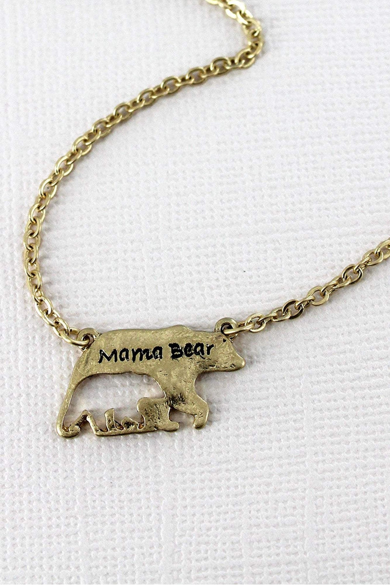 Crave Worn Goldtone Mama Bear with Cut-Out Cub Necklace