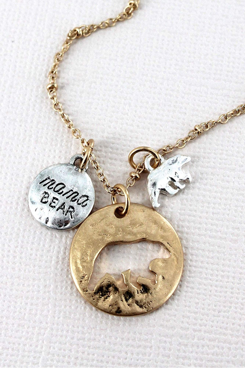 Crave Worn Goldtone Cut-Out Mama Bear Disk with Charms Necklace