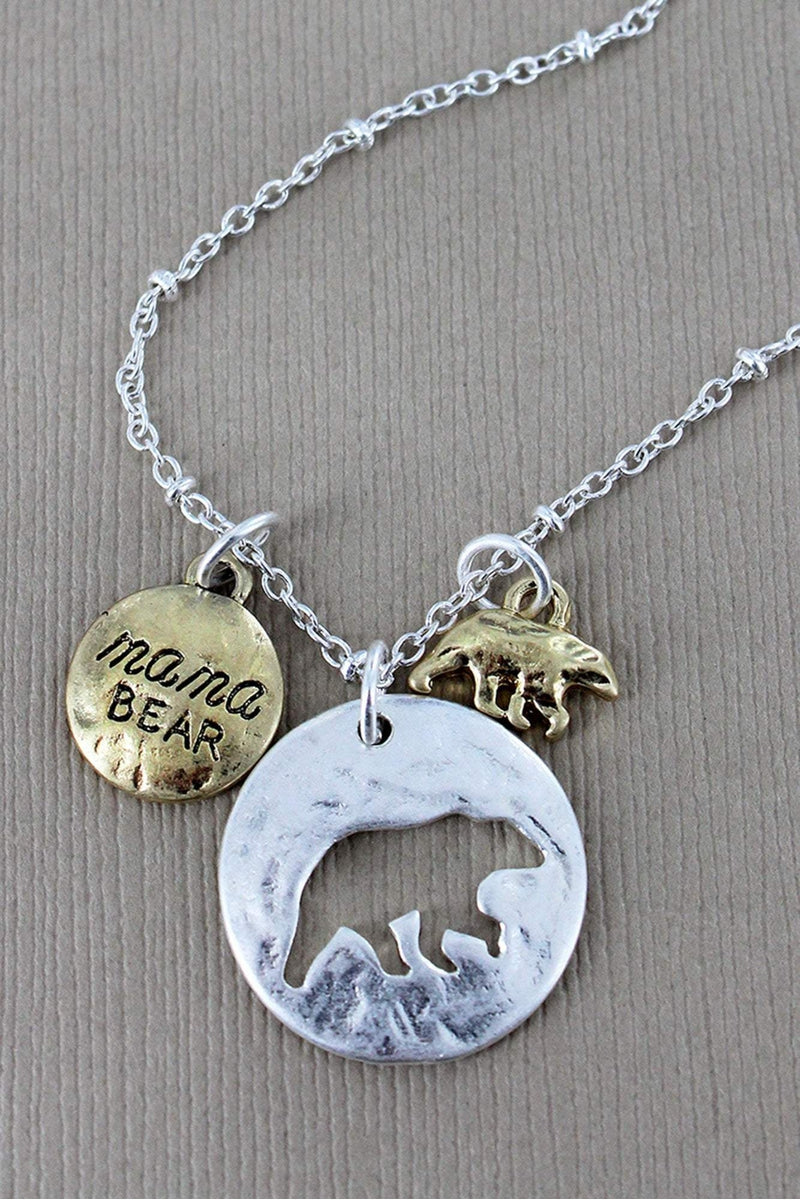Crave Worn Silvertone Cut-Out Mama Bear Disk with Charms Necklace
