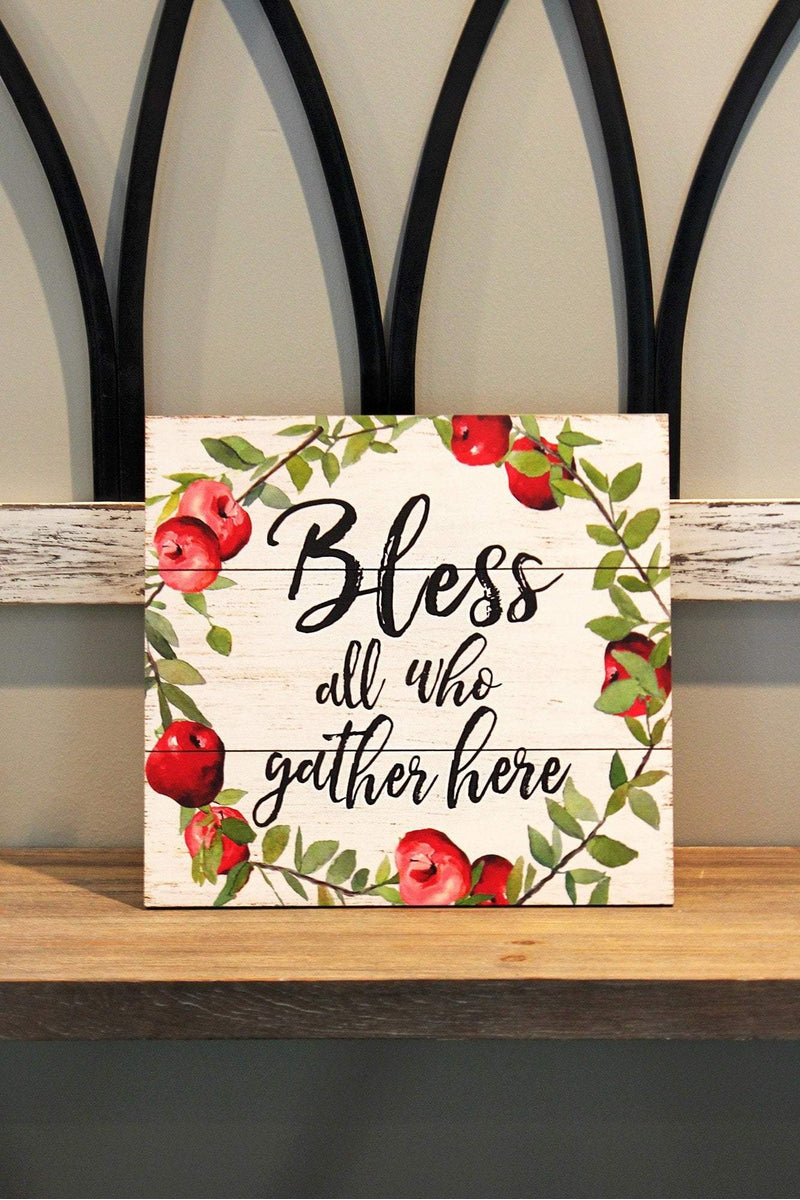 14 x 15 'Bless' Apple Wreath Wood Wall Sign