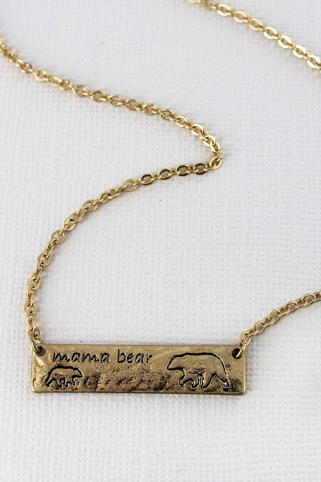 Crave Worn Goldtone Mama Bear with One Cub Bar Necklace
