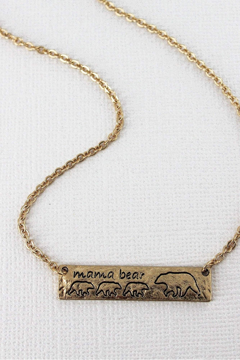Crave Worn Goldtone Mama Bear with Three Cubs Bar Necklace