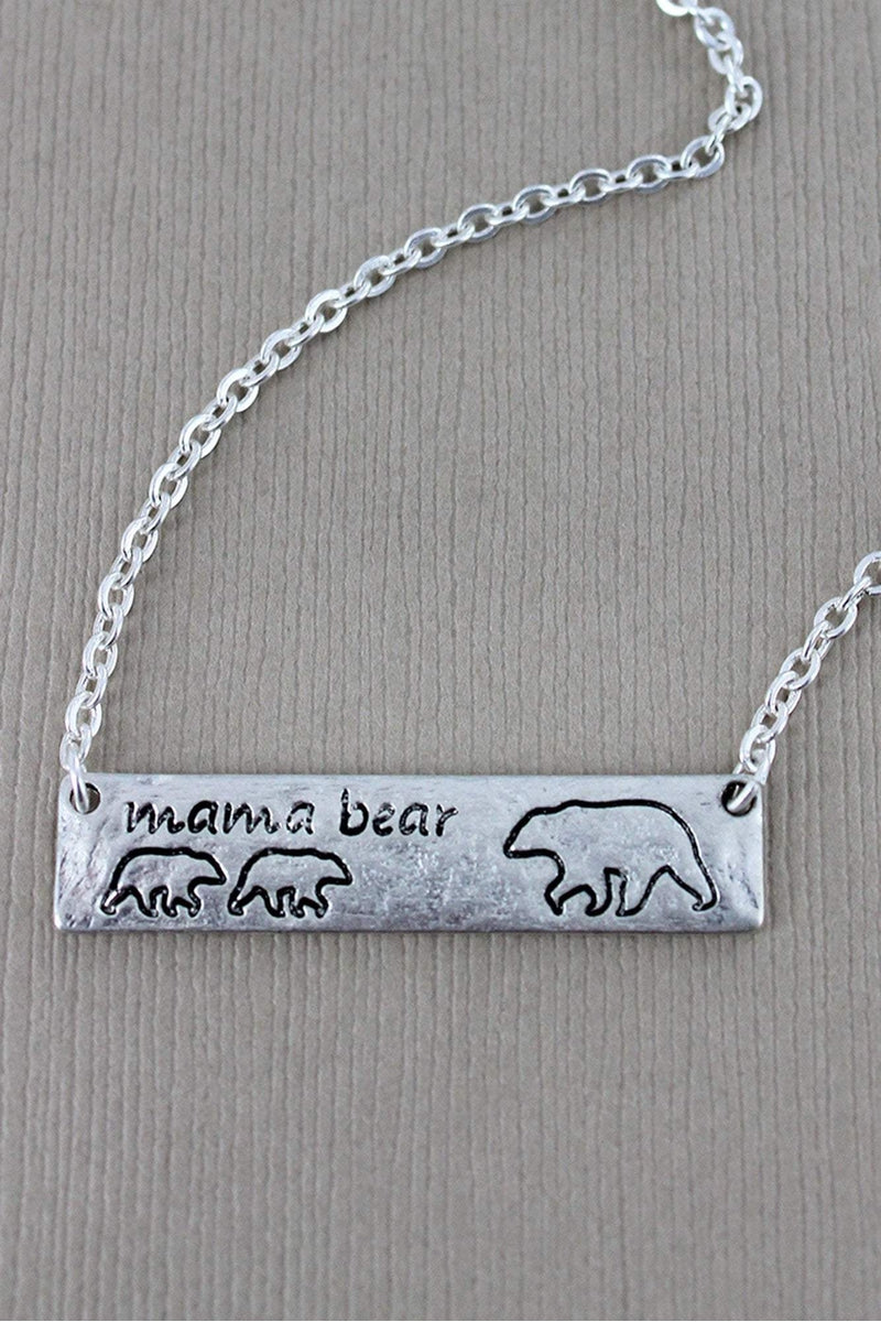 Crave Worn Silvertone Mama Bear with Two Cubs Bar Necklace