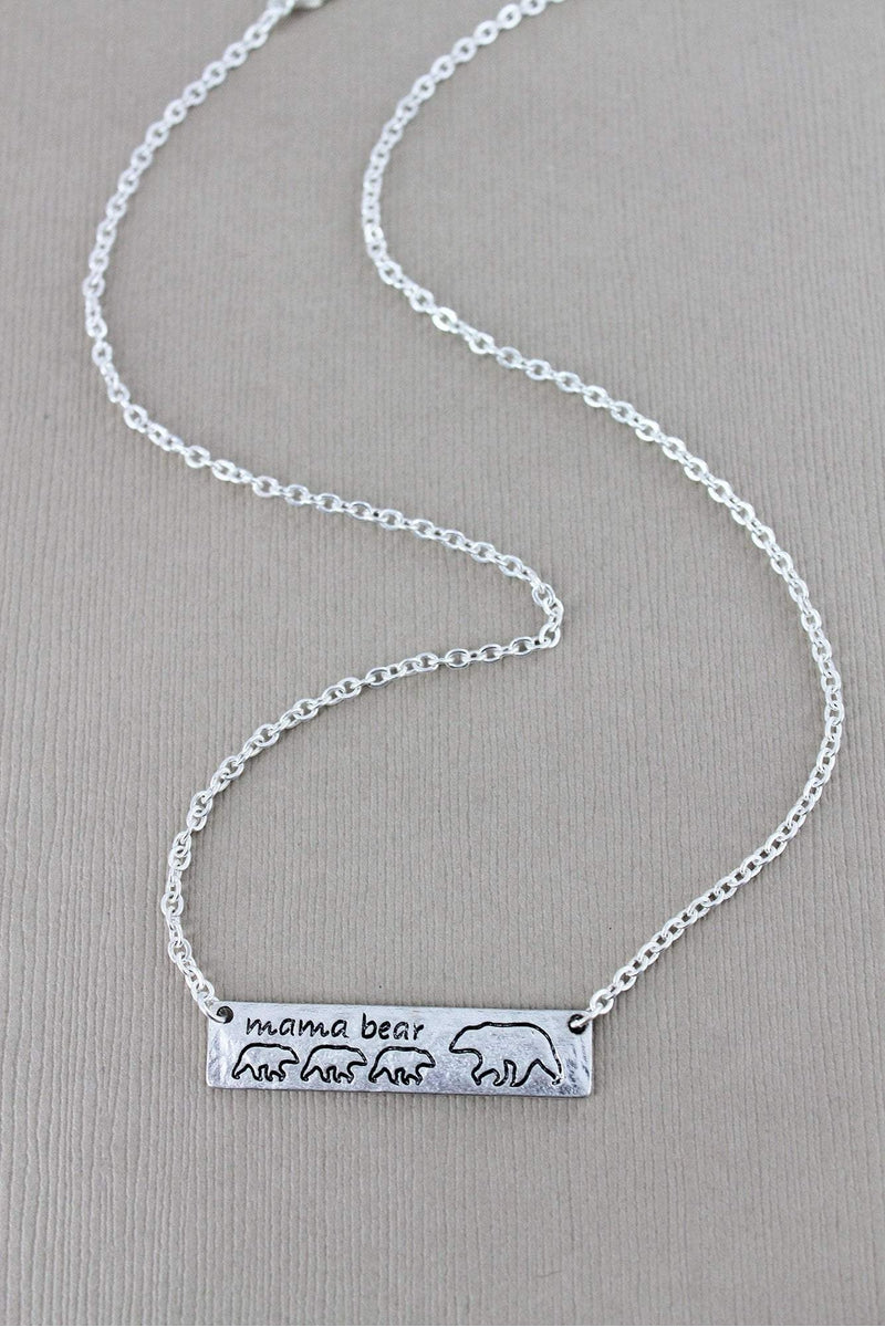 Crave Worn Silvertone Mama Bear with Three Cubs Bar Necklace