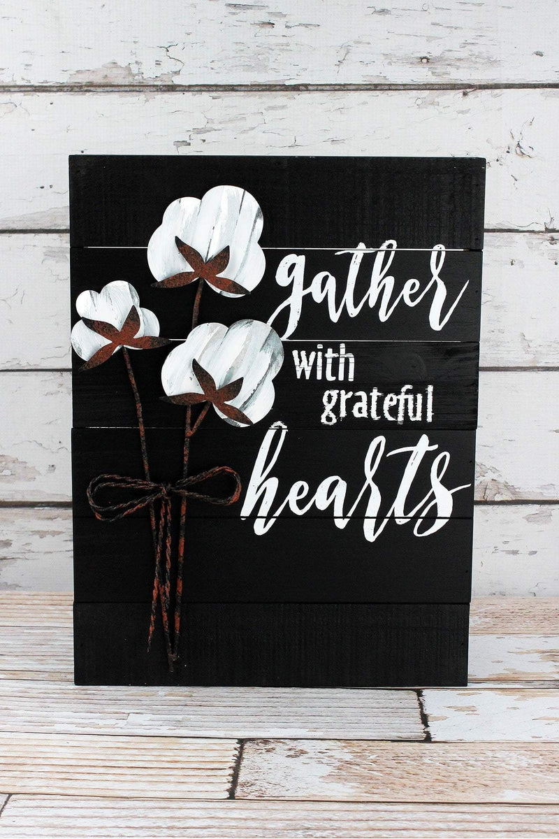 15.75 x 12 'Gather With Grateful Hearts' Cotton Wall Sign
