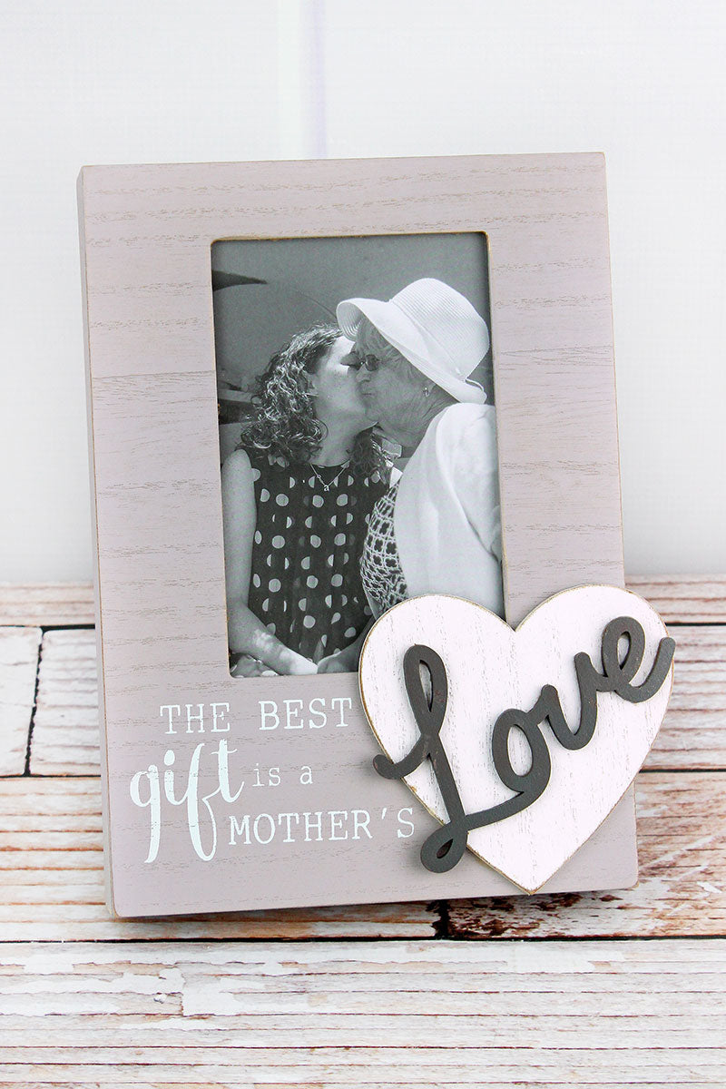 9.25 x 7.25 'Mother's Love' Wood 4x6 Photo Frame