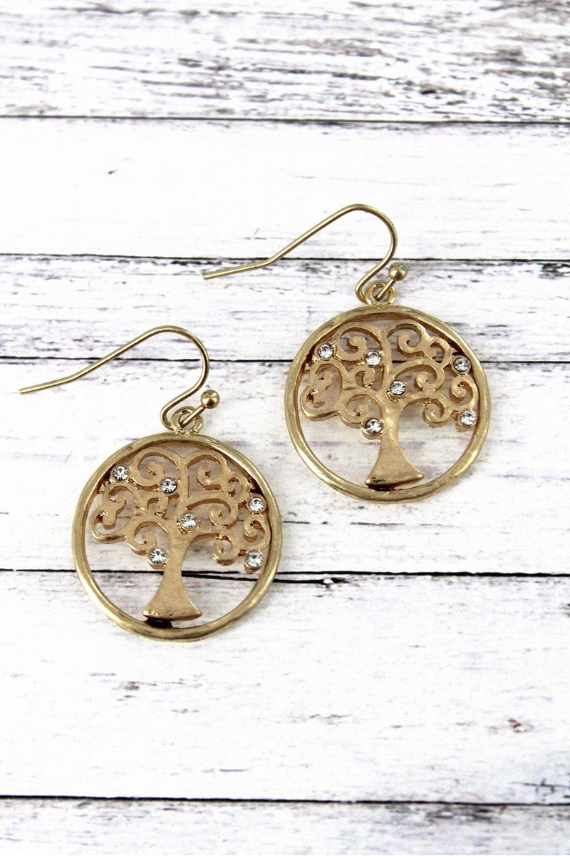Crave Worn Goldtone and Crystal Tree of Life Earrings