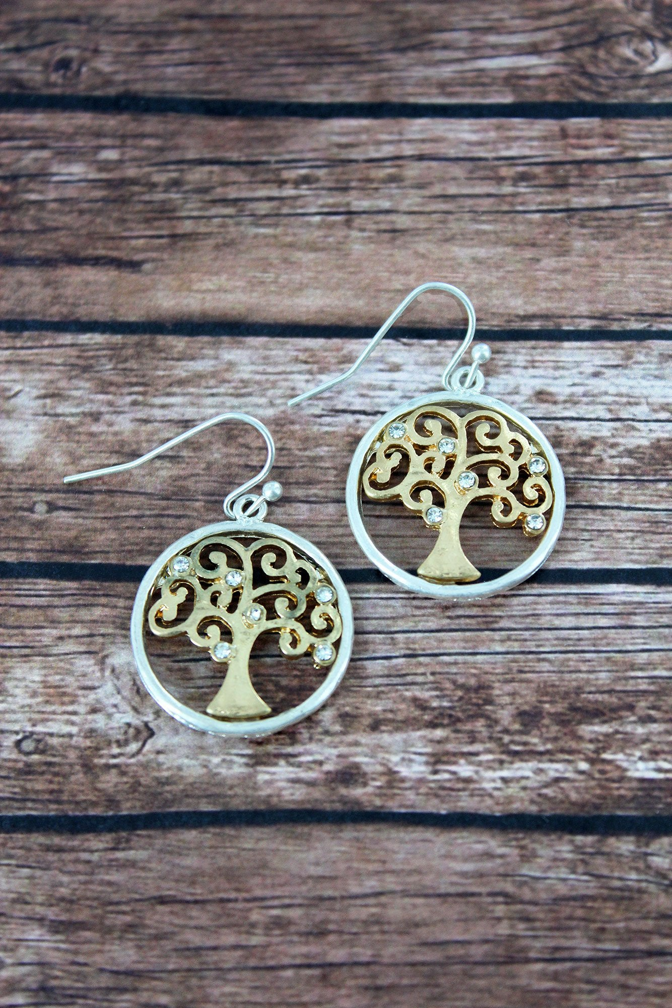 Crave Worn Two-Tone and Crystal Tree of Life Earrings