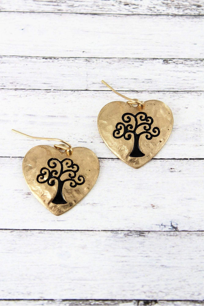 Crave Worn Goldtone Tree of Life Heart Earrings