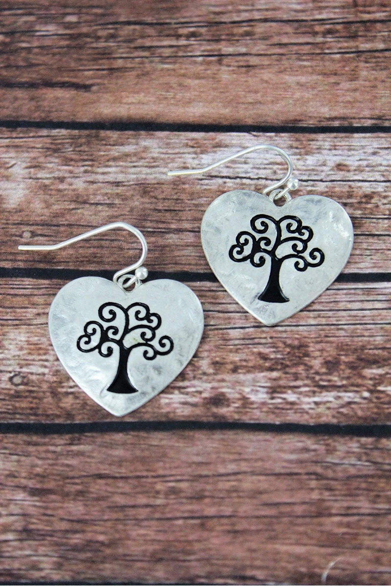 Crave Worn Silvertone Tree of Life Heart Earrings