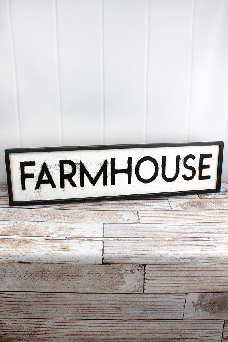 9 x 36 'Farmhouse' Framed Cut-Out Wood Sign