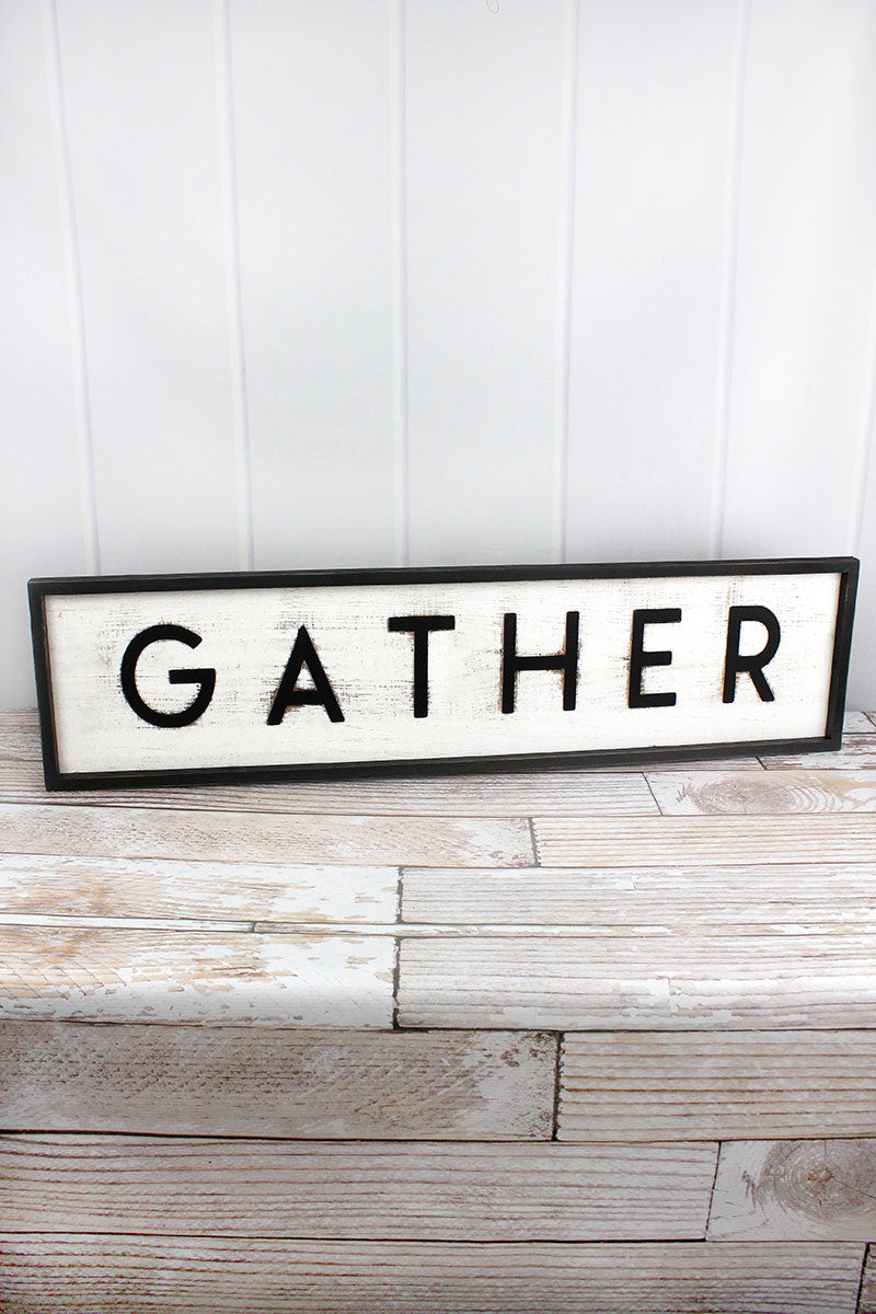 9 x 36 'Gather' Framed Cut-Out Wood Sign