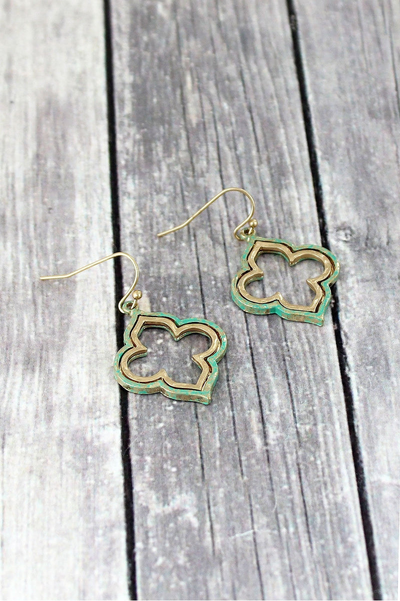 Crave Patina and Goldtone Quatrefoil Earrings