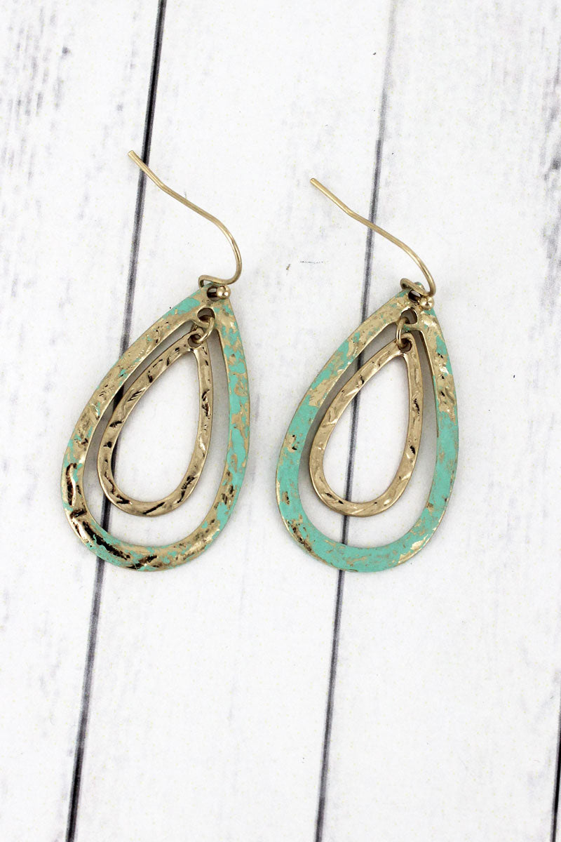 SALE! Crave Goldtone and Patina Double Teardrop Earrings