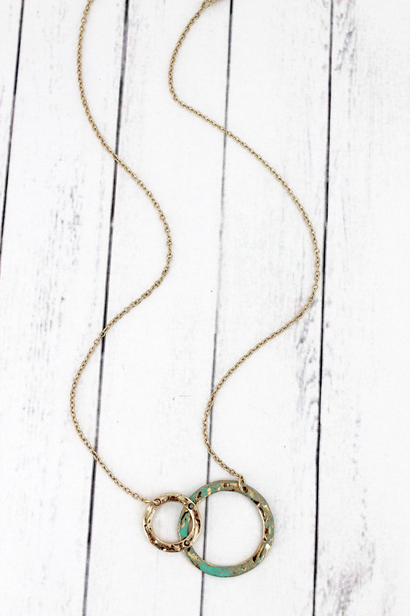 SALE! Crave Goldtone and Patina Double Overlapping Circle Necklace