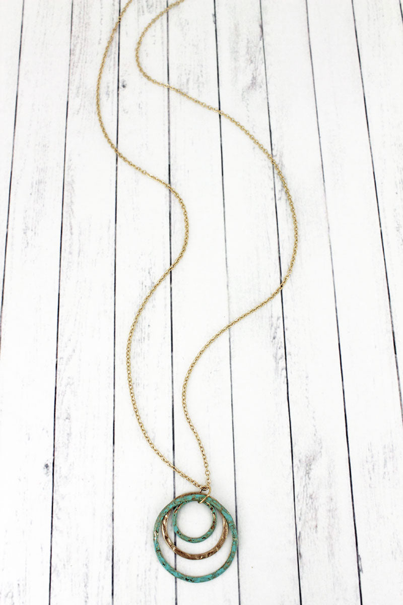 SALE! Crave Goldtone and Patina Triple Circle Necklace