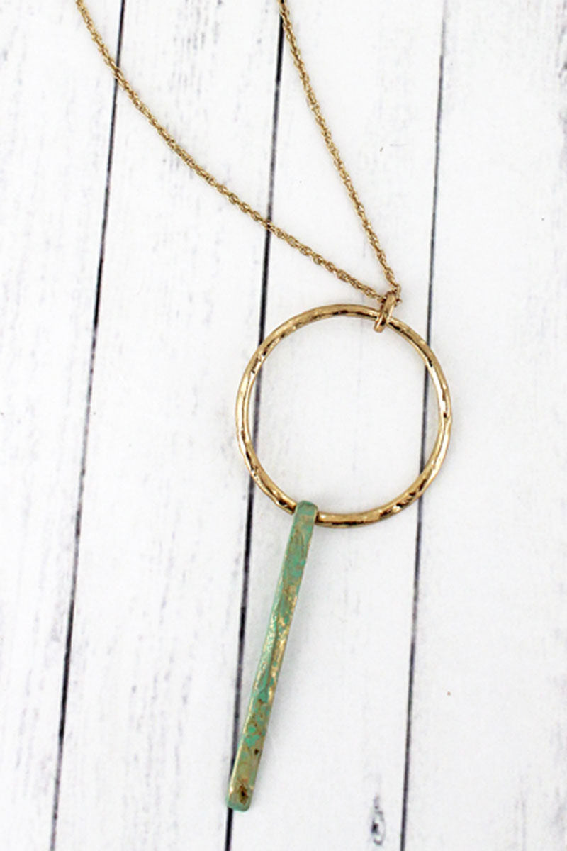SALE! Crave Goldtone Circle and Patina Linear Bar Necklace