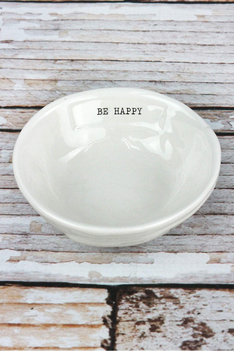Ceramic 'Be Happy' Trinket Dish, 4""