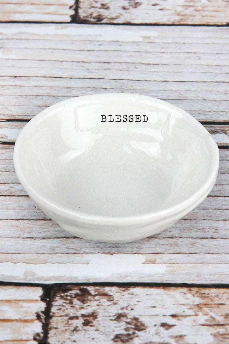 Ceramic 'Blessed' Trinket Dish, 4""