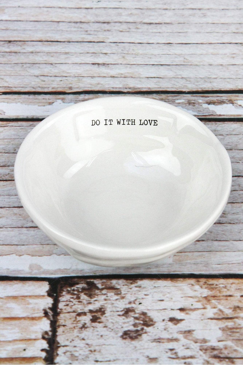 Ceramic 'Do It With Love' Trinket Dish, 4""
