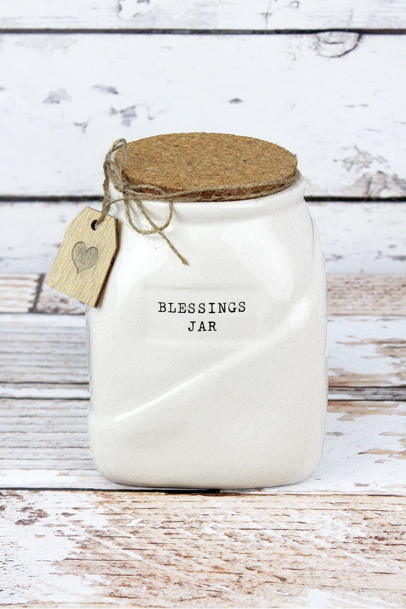Ceramic Blessings Jar with Cork Lid and Cards, 6.5""