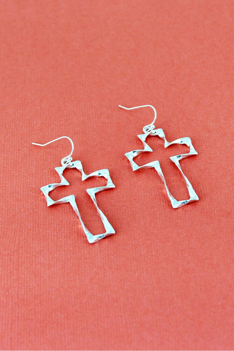 Crave Worn Silvertone Twisted Cross Earrings