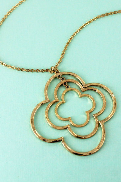 Crave Worn Goldtone Triple Quatrefoil Pendant Necklace
