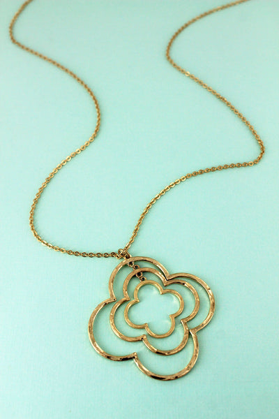 SALE! Crave Worn Goldtone Twisted Quatrefoil Pendant Necklace