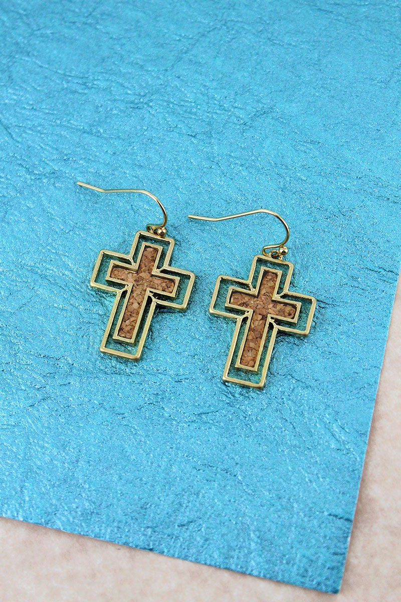Crave Goldtone and Brown Cork Cross Earrings