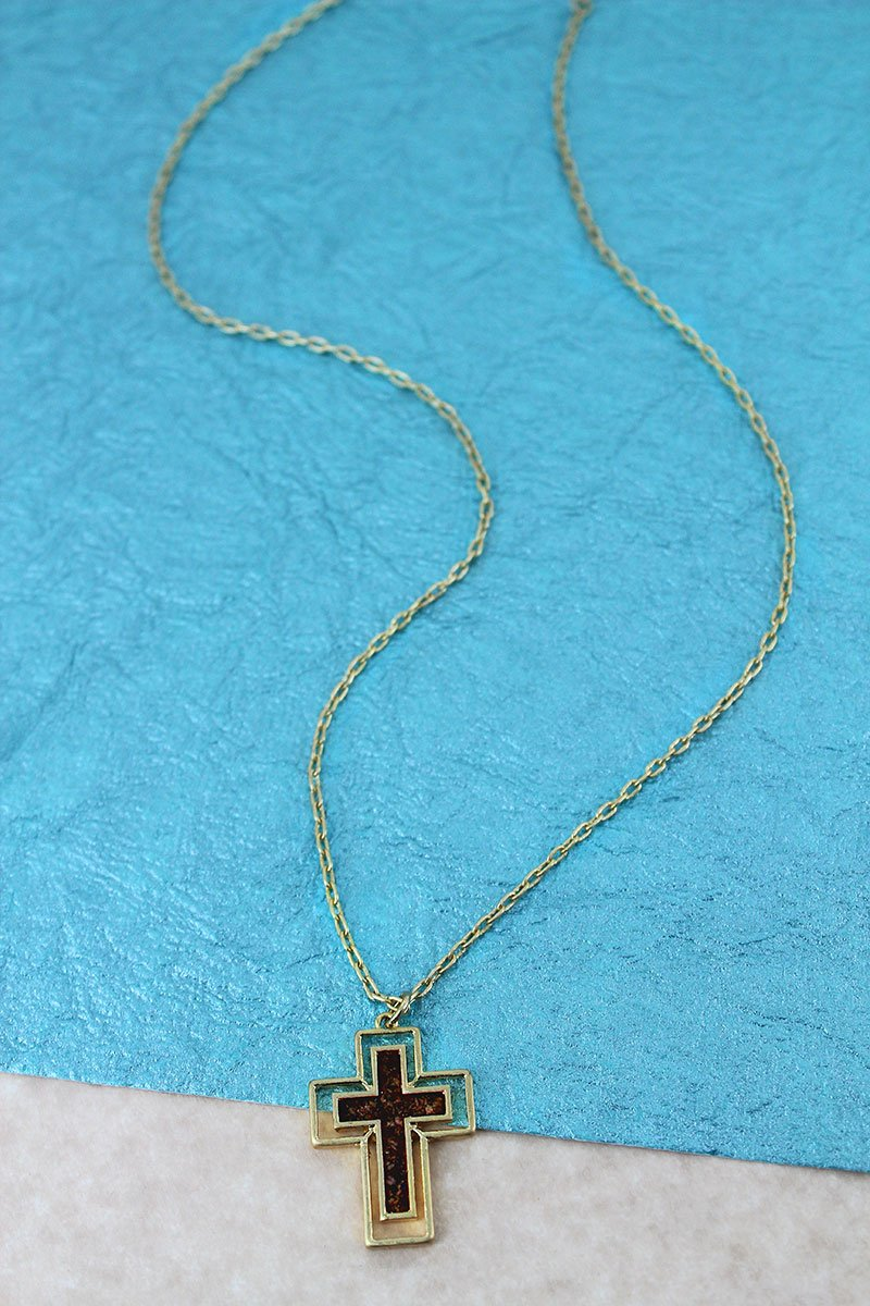 Crave Goldtone and Dark Brown Cork Cross Necklace