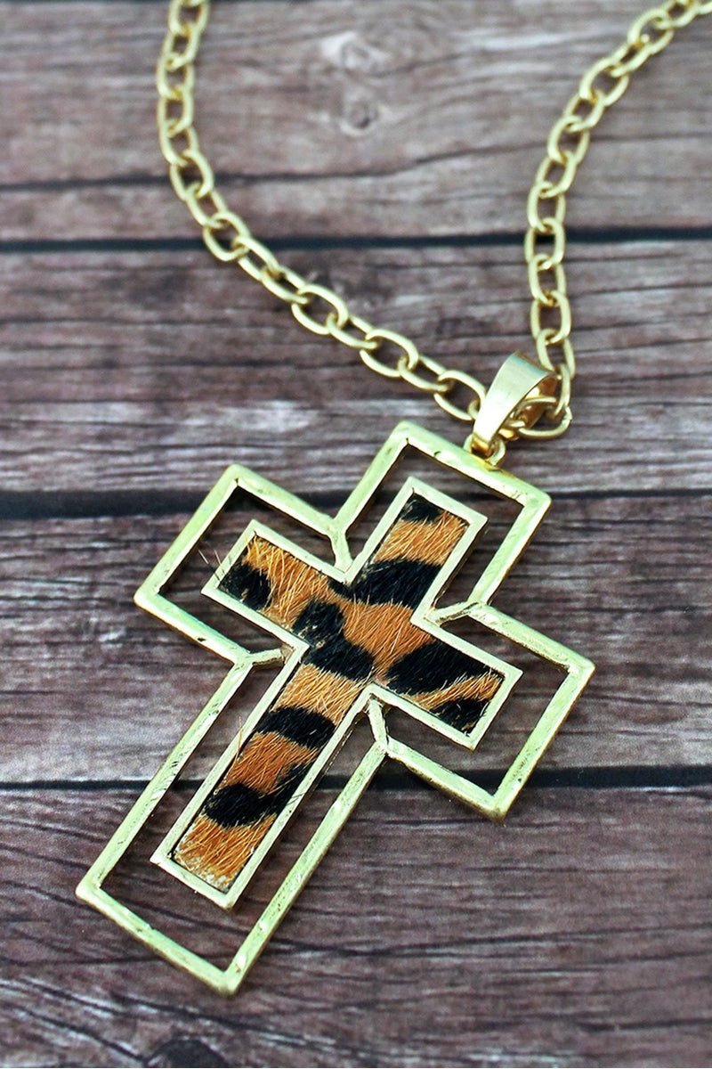Crave Worn Goldtone and Leopard Cross Pendant Necklace