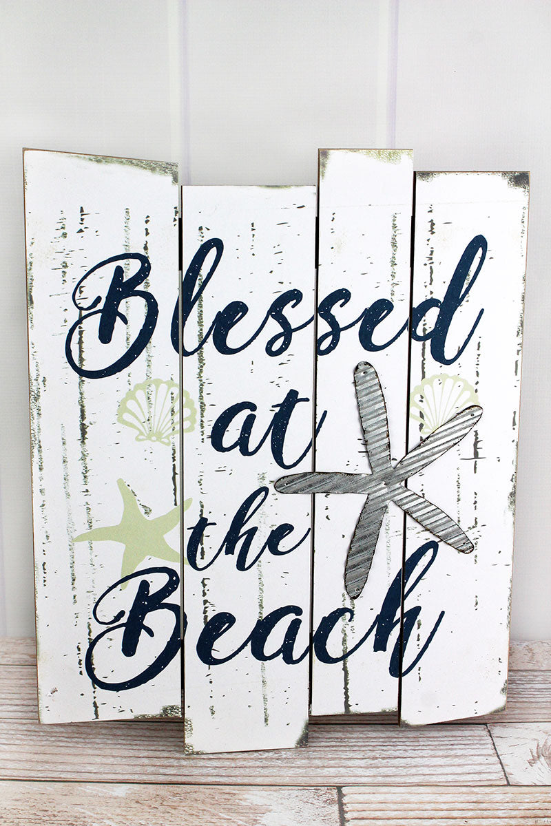 "20 x 16 'Blessed At The Beach"" Wood with Metal Starfish Sign"