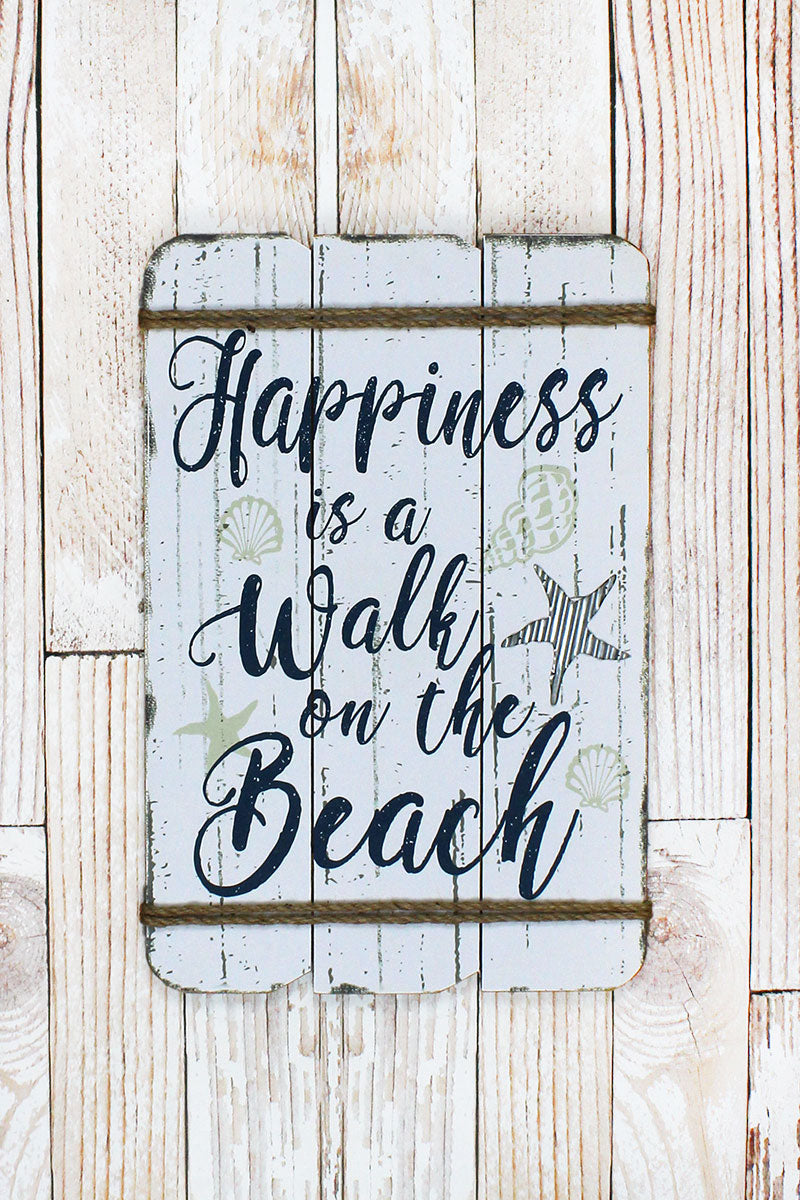 24 x 16 'Walk On The Beach' Rope Accented Wood Wall Sign