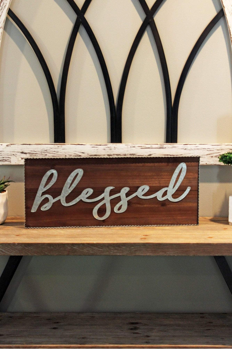 9.5 x 23.75 'Blessed' Tin Framed Wood Wall Sign