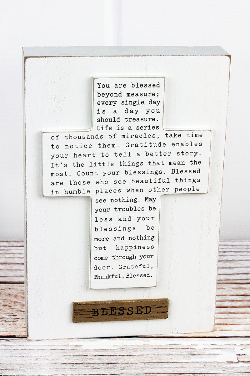 9.75 x 6.5 'Blessed' Inspirational Cross Box Sign