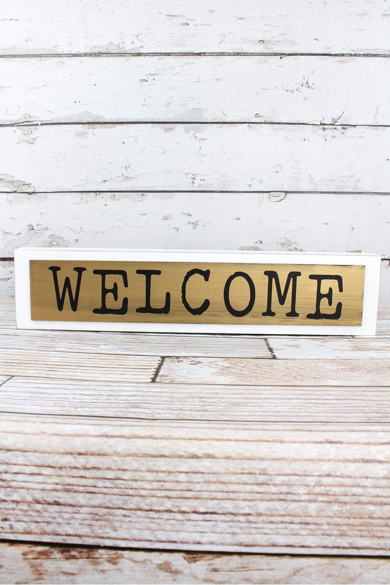 4.5 x 20 'Welcome' Layered Wood Box Sign