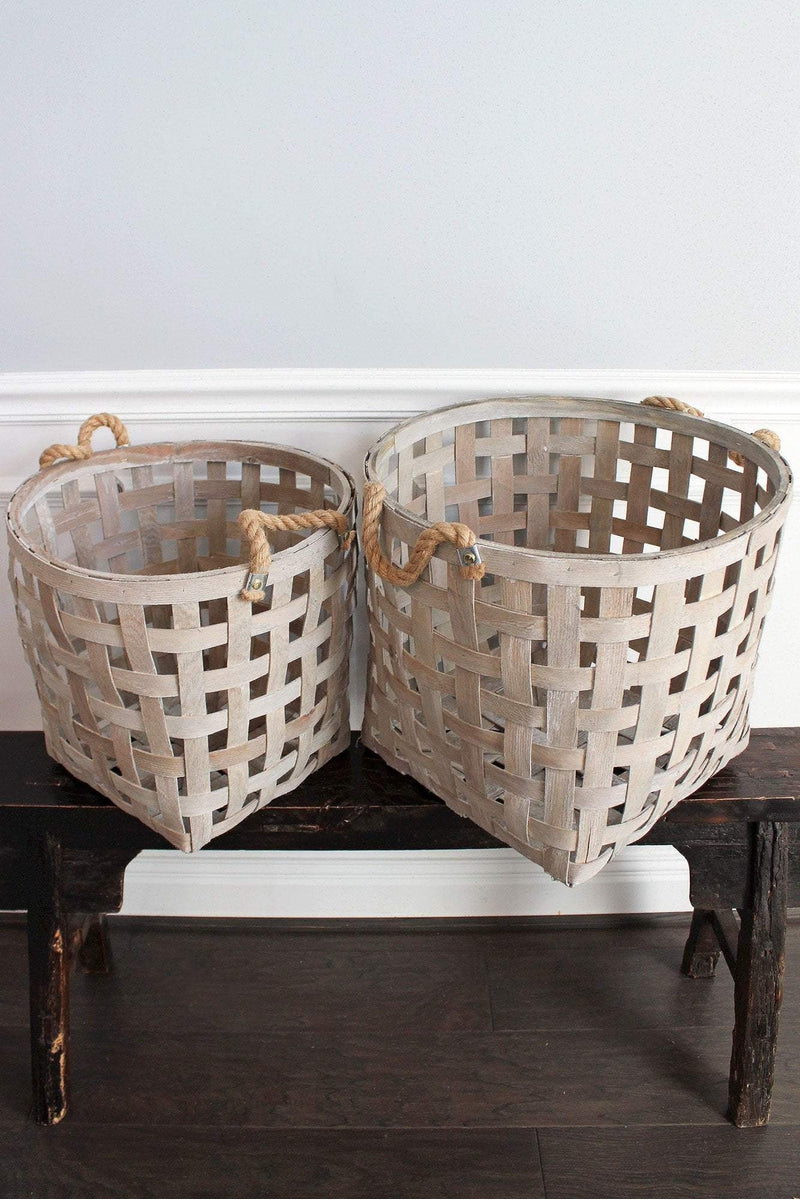 2 Piece Gray Washed Wood Tall Tobacco Basket Set