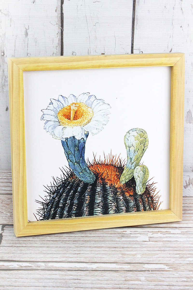 10 x 10 White Cactus Flower Wood Framed Art