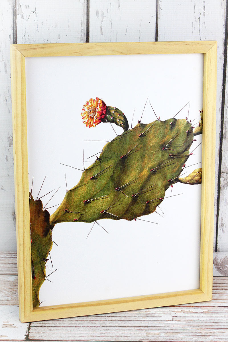16 x 12 Flowering Prickly Pear Cactus Wood Framed Art