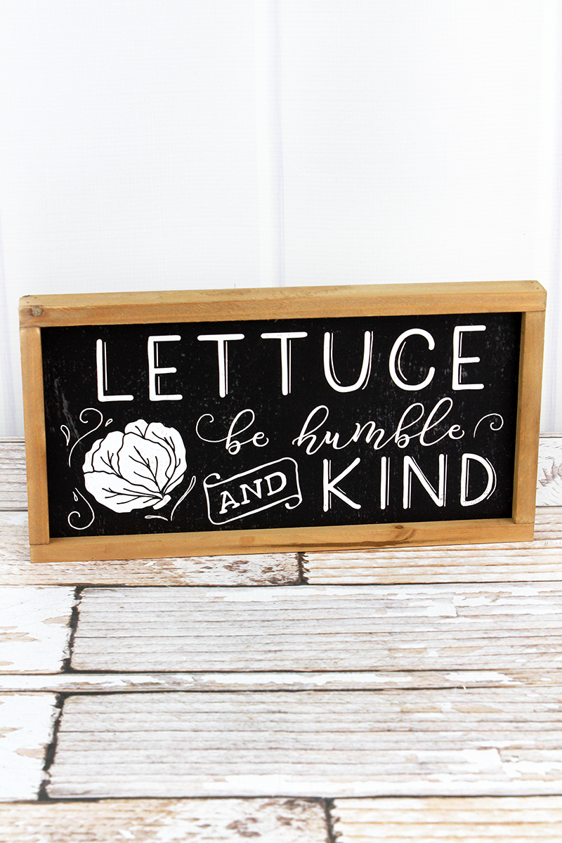 6.25 x 12 'Lettuce Be Humble And Kind' Wood Framed Sign