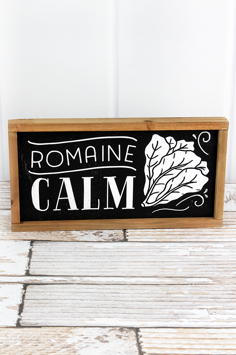 6.25 x 12 'Romaine Calm' Wood Framed Sign