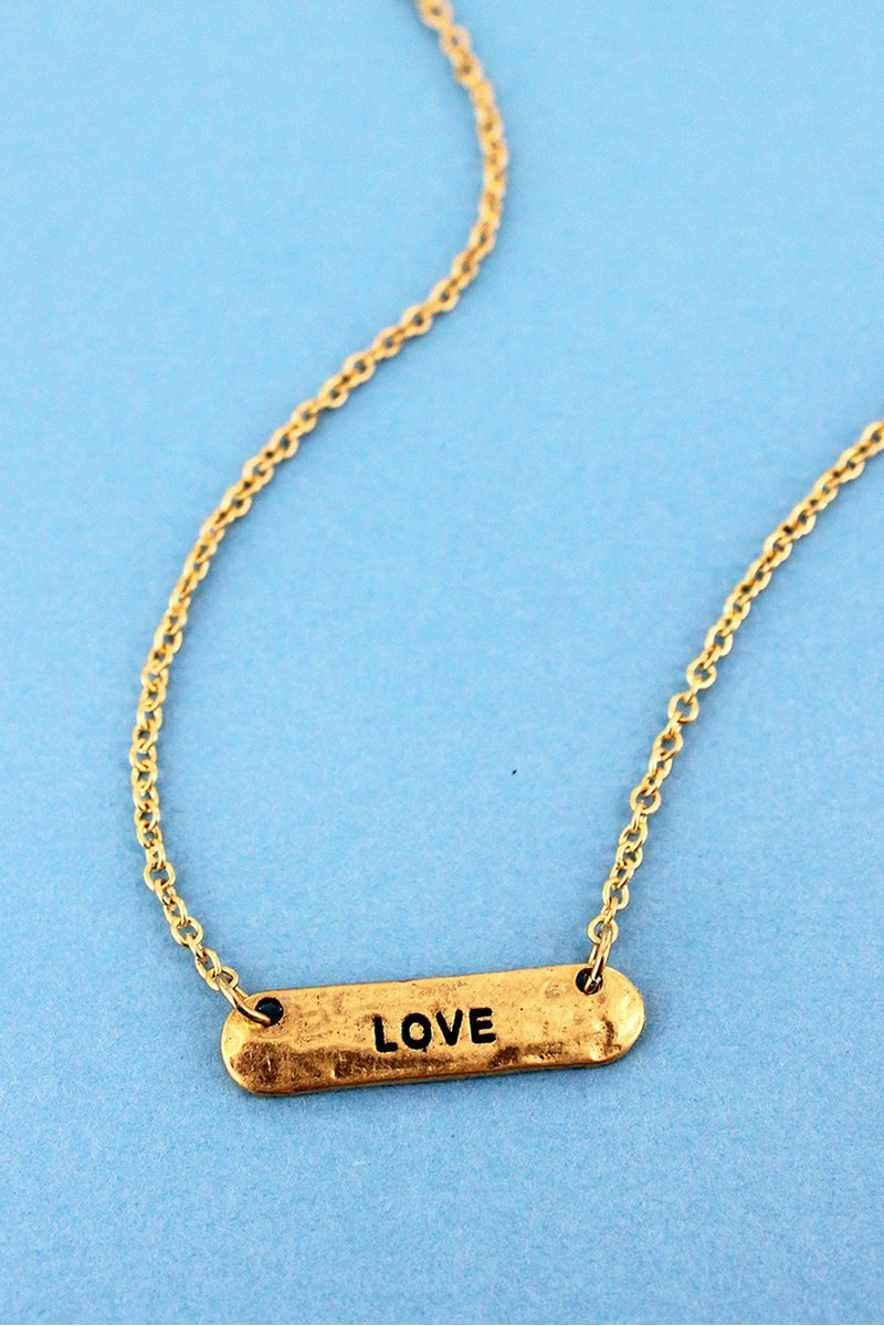 SALE! Crave Worn Goldtone 'Love' Bar Necklace