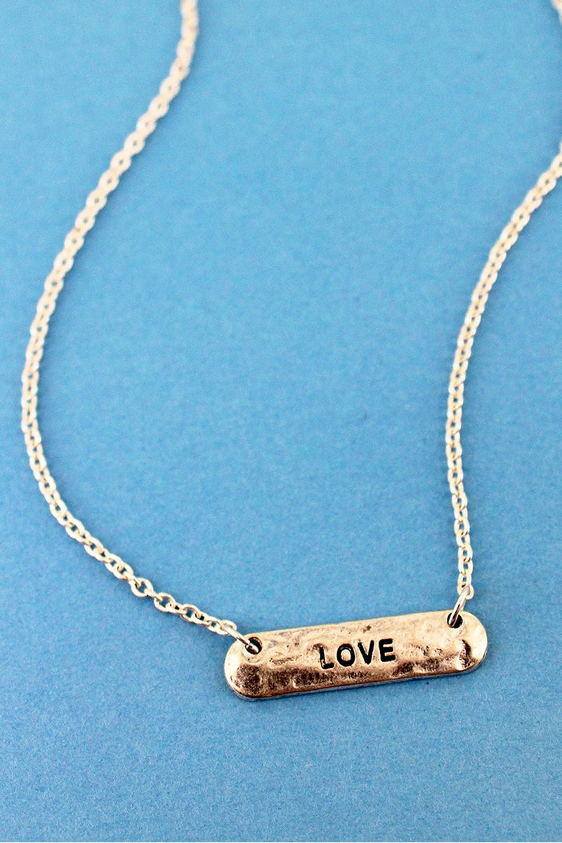 Crave Worn Silvertone 'Love' Bar Necklace