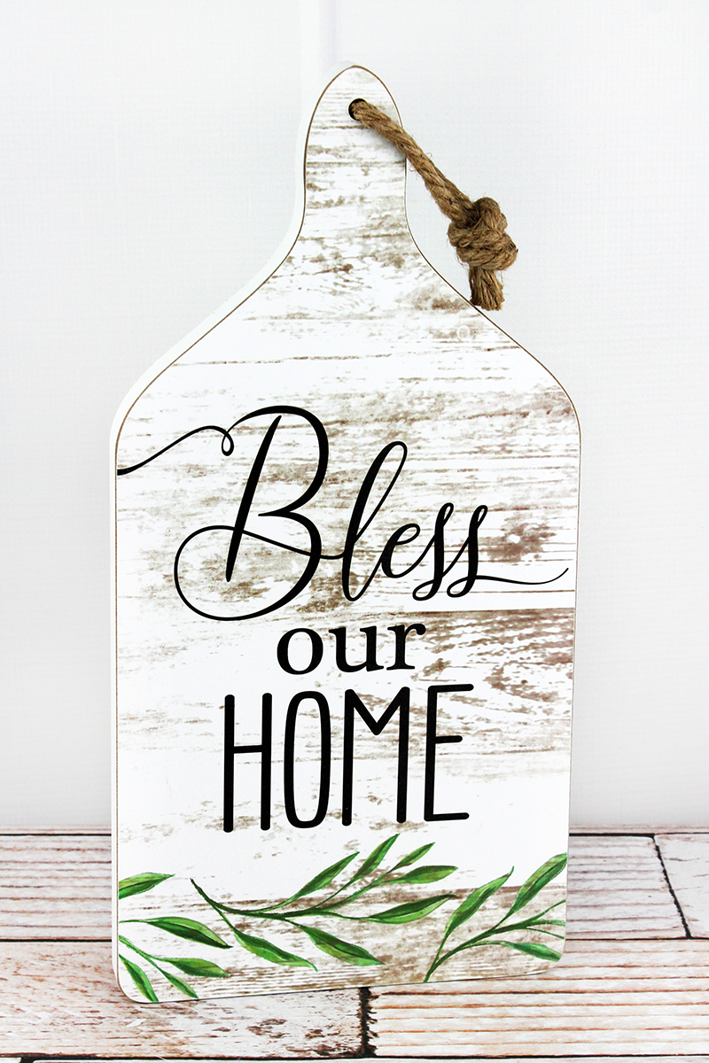 14.5 x 7.25 'Bless Our Home' Wood Cutting Board Wall Sign