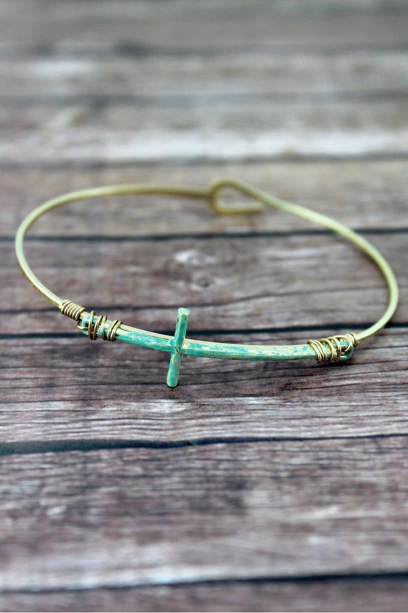 Crave Patina and Goldtone Sideways Cross Bangle
