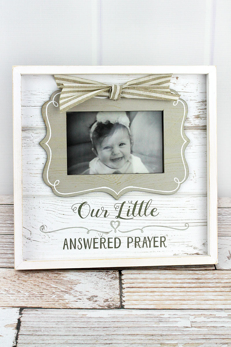 11.25 x 11.5 'Our Little Answered Prayer' Wood 4x6 Photo Frame