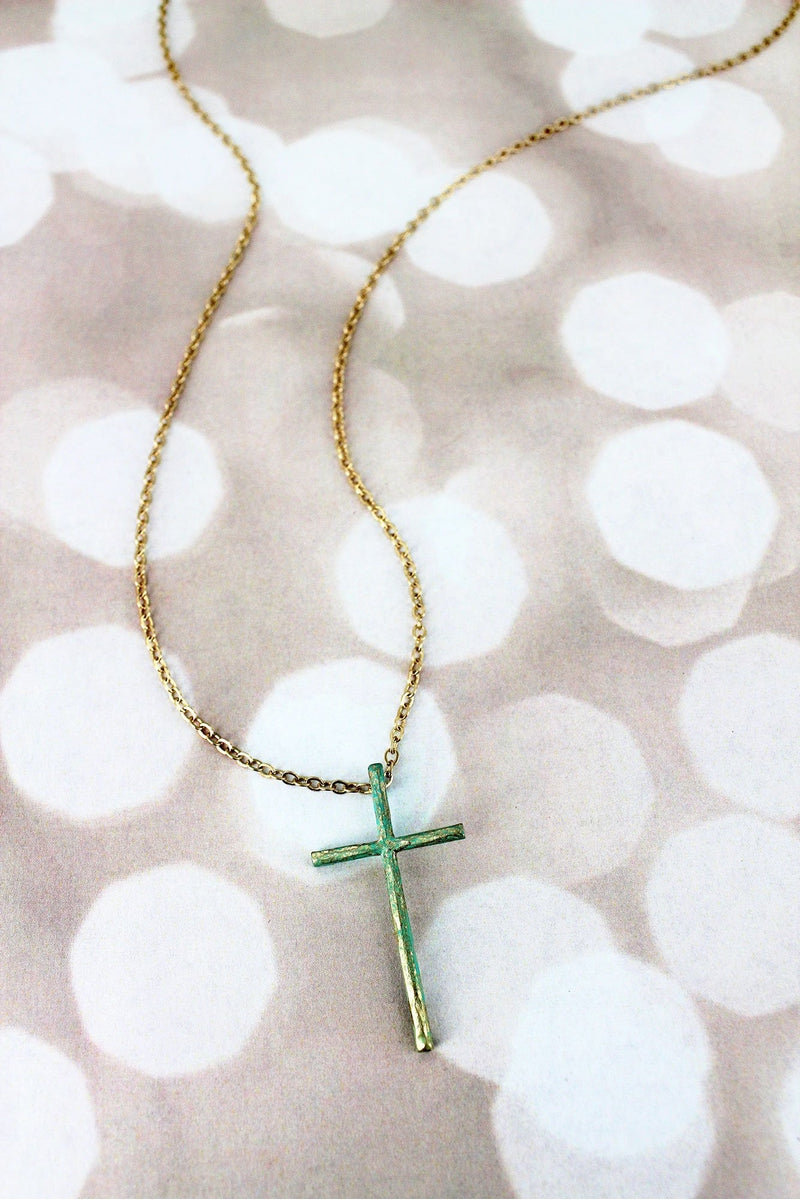 Crave Patina and Goldtone Cross Pendant Necklace