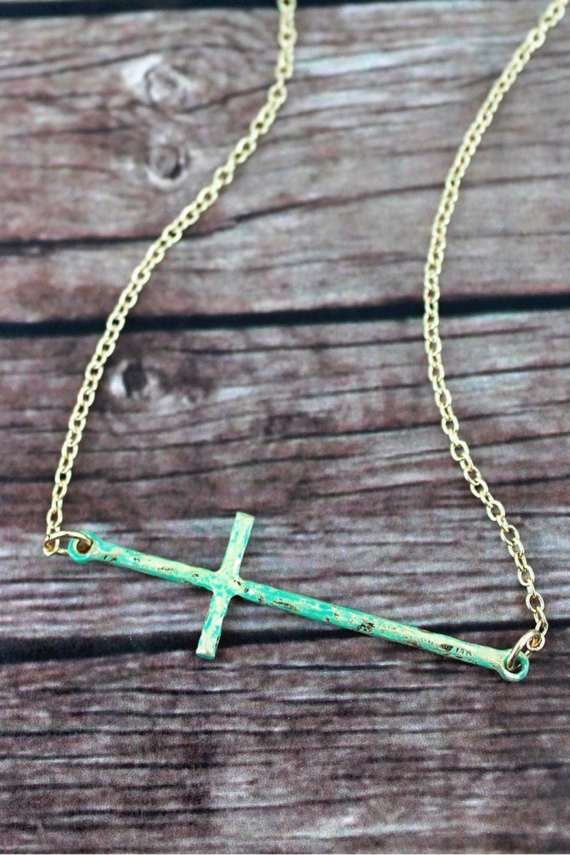 Crave Patina and Goldtone Sideways Cross Pendant Necklace